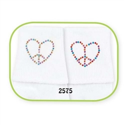 Jefferies Peace Hearts Girls Socks - 2 Pair