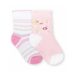 Jefferies Stripe and Floral Girls Socks - 2 Pair