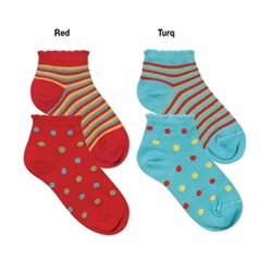 Jefferies Polka Dot and Stripe Girls Socks - 1 Pair