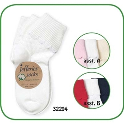 Jefferies Organic Scalloped Turn Cuff Boys and Girls Socks - 3 Pairs