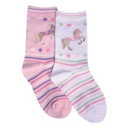TicTacToe Carousel Horse Girls Socks - 3 Pair