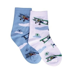 TicTacToe Bi-Plane Adventure Boys Socks - 2 Pair
