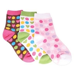 TicTacToe Dots of Love Girls Socks - 3 Pair
