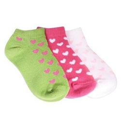 TicTacToe Tiny Hearts Girls Socks - 3 Pair