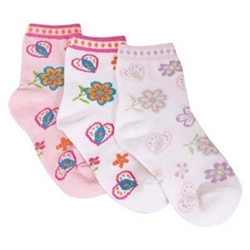 TicTacToe Floral Fun Girls Socks - 3 Pair