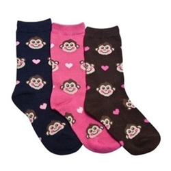TicTacToe Monkey Hearts Girls Socks - 3 Pair