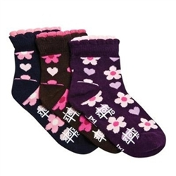 TicTacToe Heart and Flower Short Girls Socks - 3 Pair