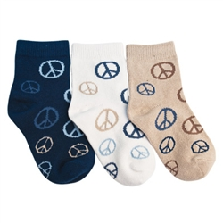 Tic Tac Toe Peace, Dude! Quarter Boys Sock - 3 Pairs