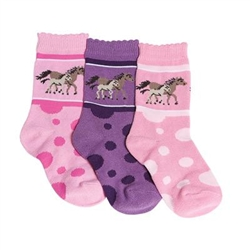 Tic Tac Toe Horse Dots Girls Socks - 3 Pairs