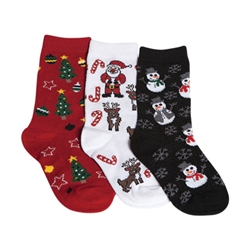 Tic Tac Toe Christmas Sparkle Girls Socks - 3 Pairs