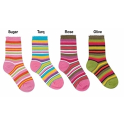 Jefferies More Sun Stripe Girls Socks - 1 Pair
