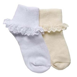 TicTacToe Eyelet Lace Girls Socks - 1 Pair