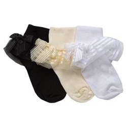 TicTacToe Sheer Lace with Bow Girls Socks - 1 Pair