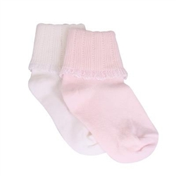 TicTacToe Fancy Turn Cuff Girls Socks - 1 Pair