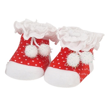 Sweet Feet 719 Sparkly Pom Pom Baby Shoe Socks