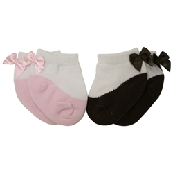 Jefferies Bows on Back Pink & Chocolate Baby Socks - 2 Pair