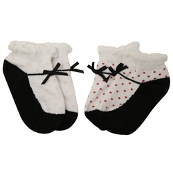 Jefferies Mary Jane Red Baby Socks with Dots - 2 Pair
