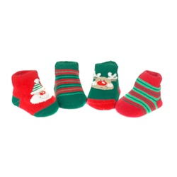 Sweet Feet 745 Jolly Holiday Multi Baby Shoe Socks - 4 Pair