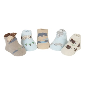 Sweet Feet 759 Big Five Safari Multi Baby Shoe Socks