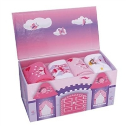 TicTacToe Princess Gift Box with 4 Girls Socks - 1 Box