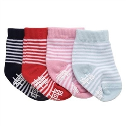 TicTacToe Stripe Baby Girls Socks - 2 Pair