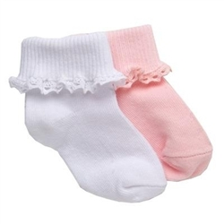 TicTacToe Mini Crochet Lace Girls Socks - 1 Pair