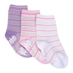 TicTacToe Sweet Stripes Girls Socks - 3 Pair