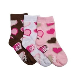 TicTacToe Double Hearts Baby Girls Socks - 3 Pair