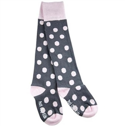 Pork Chop Kids Grey and Pink Dot Thigh High Girls Socks - 1 Pair