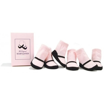 Trumpette MaryJane Pink Basic Baby Shoe Socks - 6 Pair