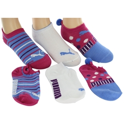 Puma Fashion No Show Girls Socks - 3 Pair