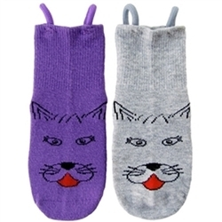 """I Can Do It!"" Socks by EZ SOX - Kitty Cat Seamless Socks for Girls, with Loop Technology"
