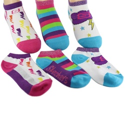 Skechers Twinkle Toes Fashion no show Girls Socks - 3 Pack
