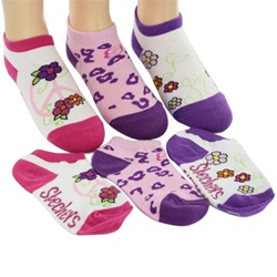 Skechers Twinkle Toes Fashion no show Girls Socks - 3 Pair
