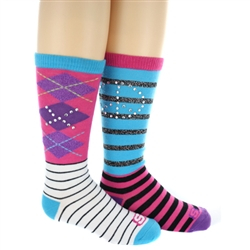 Skechers Kids Funky Girls Knee Highs with Rhinestones - 2 Pack