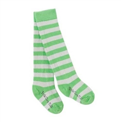 Pork Chop Kids Lime/Grey Stripe Thigh High Girls Socks - 1 Pair