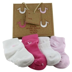 True Religion Gift Box Set Baby Girls Socks - 1 Box of 4 Pair