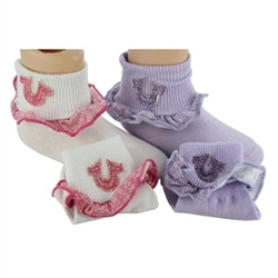 True Religion Cheetah Ruffle Baby Girls Socks - 2 Pair