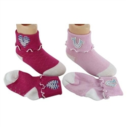True Religion Ruffle Applique Baby Girls Socks - 2 Pair