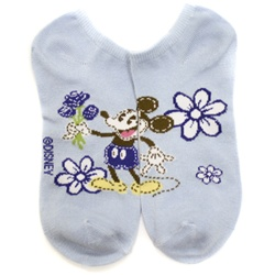 Mickey Mouse Flower Baby Blue Socks - 1 Pair