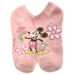 Mickey Mouse Flower Pink Socks - 1 Pair