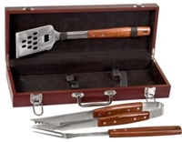 3 Piece Rosewood BBQ Set in Rosewood Finish Case
