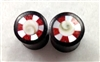 Pair of Organic Brown Sono Plugs with MOP, Crushed Red Coral, & Resin