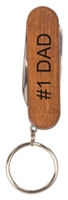 2 1/4 inch Wooden 3-Tool Pocket Knife with Key Ring
