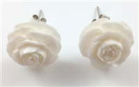 Pair of Organic Hand Carved Flower Earrings