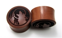 "Pair of ""Howling Wolf"" Organic Plugs"