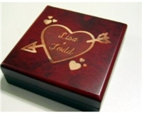 Personalized High Gloss Rosewood Keepsake Ring Jewelry Box