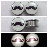 LED Light Up Stainless Steel Screw Tunnel Plugs with Mustache Logo