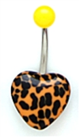 Acrylic Orange and Black Cheetah Animal Print Bellybutton Navel Piercing Bar Jewelry Ring 14G 3/8""