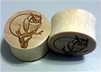 "Pair of ""Owl and the Moon"" Organic Wood Solid Plugs"